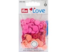 """393002 Prym Love Кнопки """"Color Snaps"""" круглые красные, оранжевые, розовые 12,4 мм 30шт."""