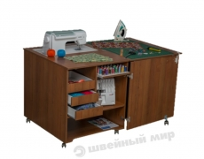Стол для швейной машины и оверлока Комфорт 1QLW (с проемом под вышивальный блок)